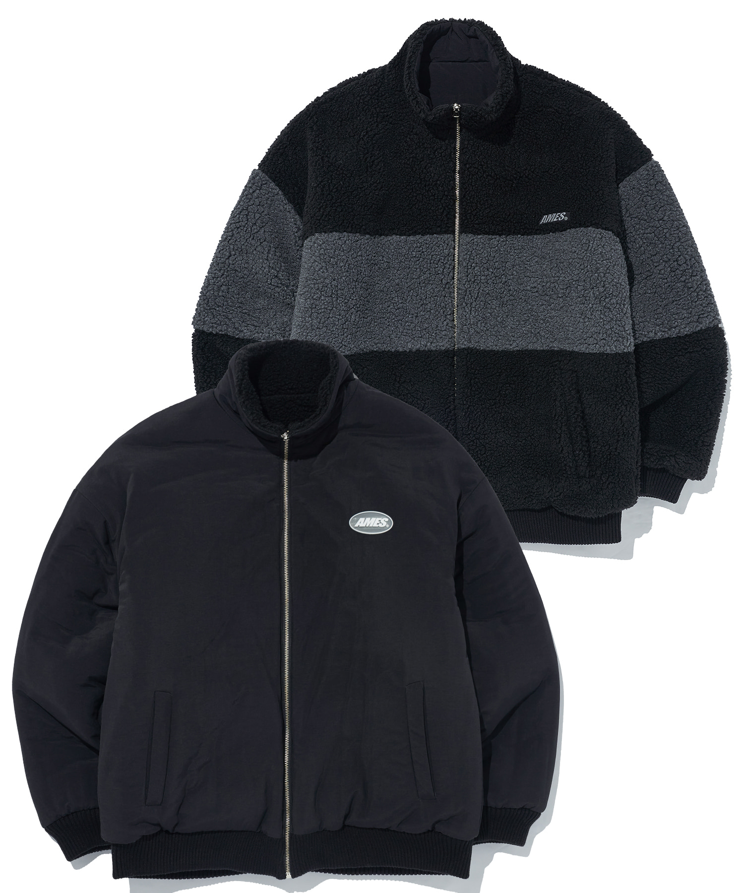 REVERSIBLE FLEECE JACKET_BK