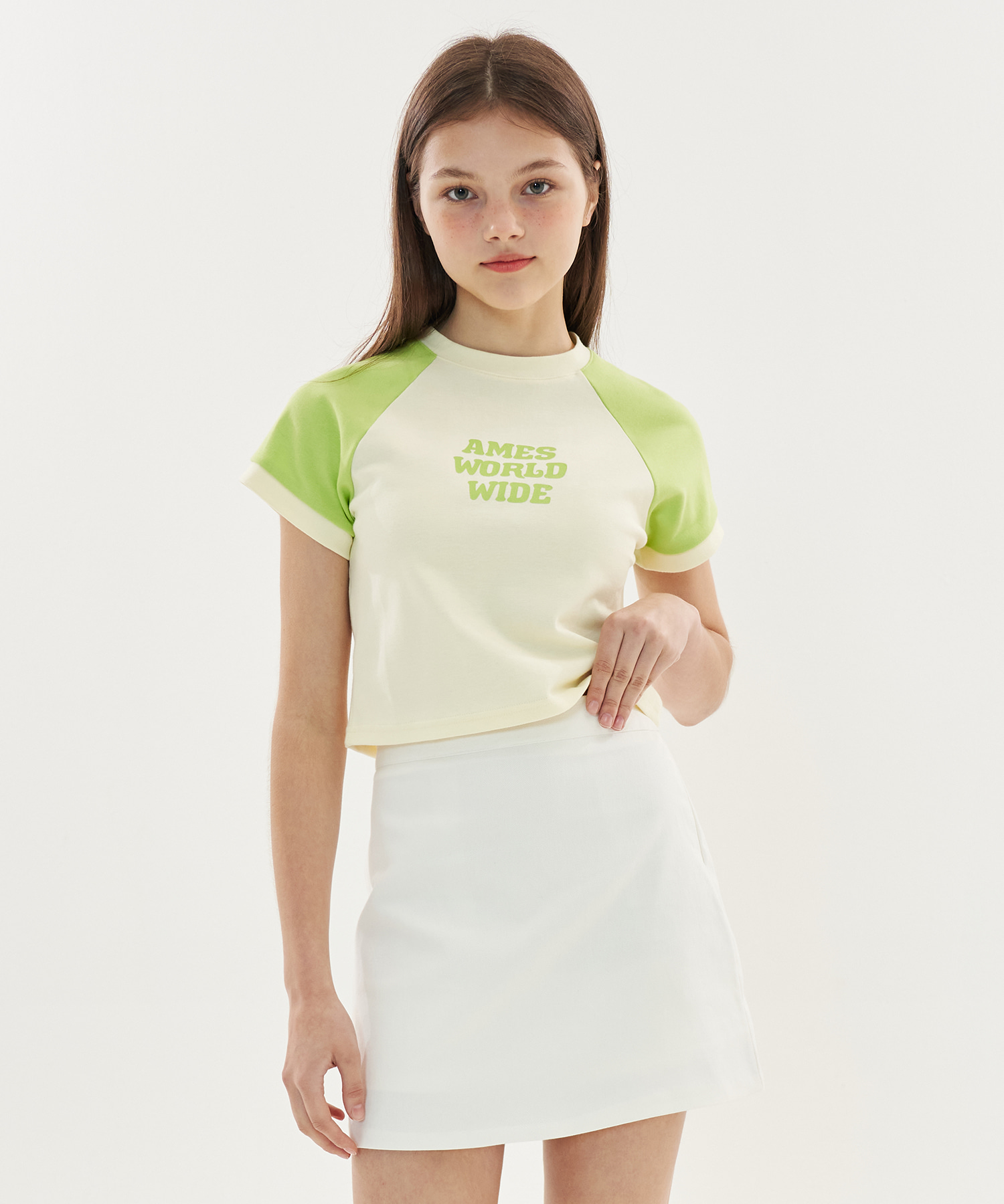 COLORED RINGER CROP T-SHIRTS _LG