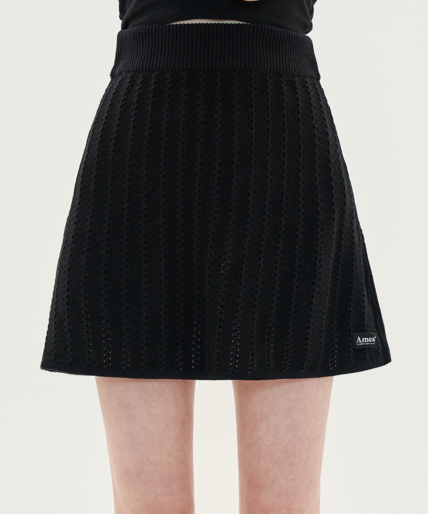 TWIST A-LINE KNIT SKIRT_BK